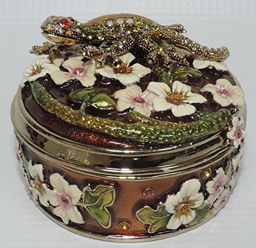(Round Trinket Box with Gecko and Flowers)