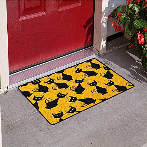 Gloria Johnson Vintage Front Door mat Carpet Black Cat Pattern for Halloween on Orange Background Celebration Graphic Patterns Machine Washable Door mat W31.5 x L47.2 Inch Black Orange]()