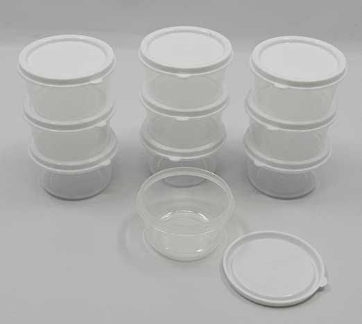 Crafter/'s Square 2 Packs Mini Clear Round Plastic Storage Containers w// Lids