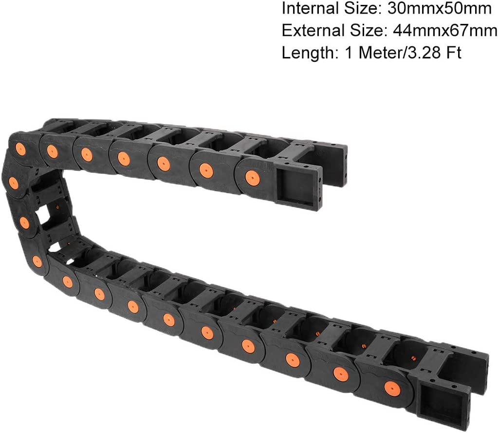 uxcell Drag Chain Cable Carrier Open Type with End Connectors R55 25X77mm 1 Meter Plastic for Electrical CNC Router Machines Black