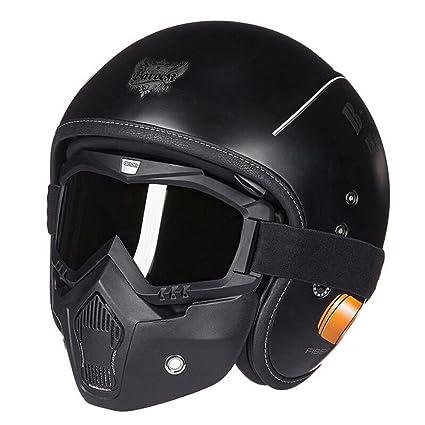 JPFCAK, Casco Jet, Gafas, Casco De Moto, Luz, Motocicleta, Moda