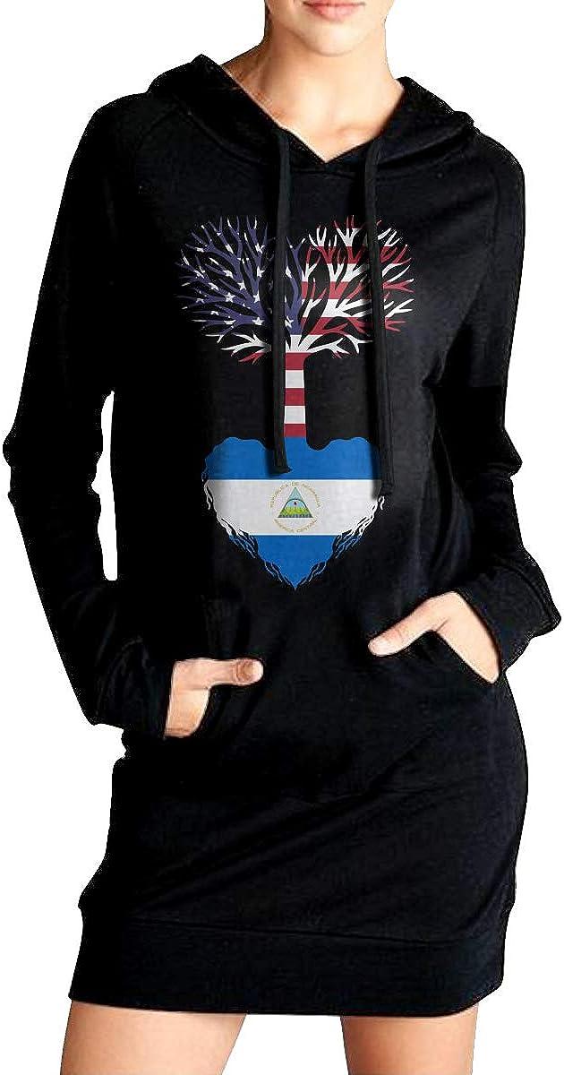 ADA/&KGH Womens Pullover Sweatshirt Long Hoodie Dress American Grown Nicaragua Root Sweater with Kanga Pocket