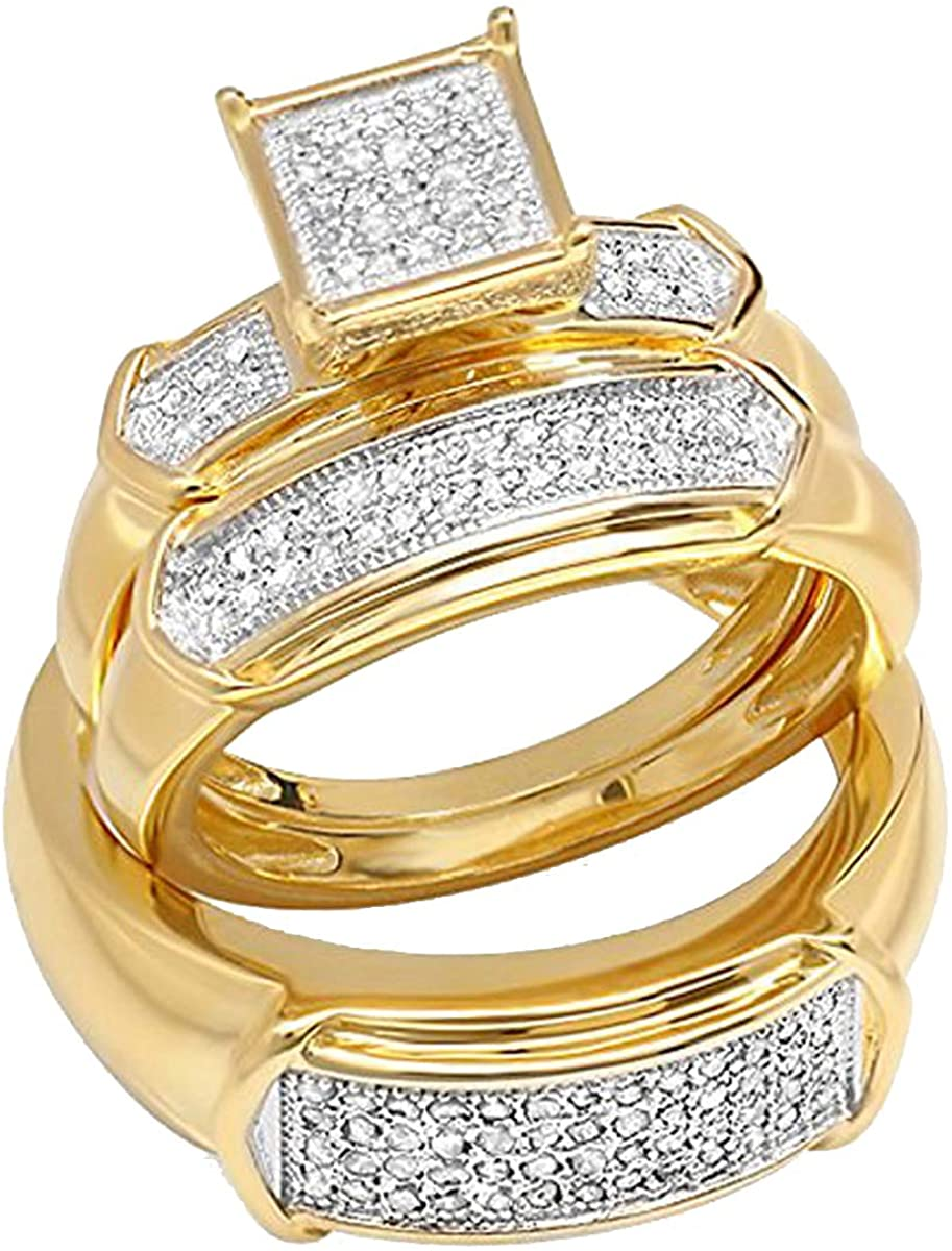 ctw Sterling Silver Dazzlingrock Collection 0.35 Carat White Diamond Men And Womens Micro Pave Engagement Ring Trio Set 1//3 CT