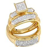 Dazzlingrock Collection 0.30 Carat (ctw) Round Diamond Men & Women Trio Set 1/3 CT, 18K Yellow Plated Silver