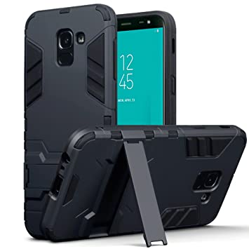 low priced f5a56 88849 TERRAPIN, Compatible with Samsung J6 2018 Case, Full Body Shock Resistant  Armour Cover with Kickstand - Black