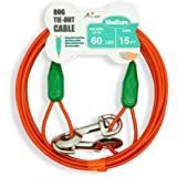 Petest 15ft Tie-Out Cable with Crimp Cover for Medium Dogs up to 60 pounds