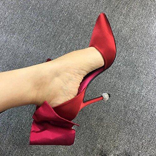 taille CN38 Stiletto Été Pointu Pour Rouge Satin Hauts YIXINY Printemps Couleur 5 Femmes Bleu Et Chaussures Noir Bowknot Rouge Talons UK5 Bleu Escarpin EU38 Bz4U7