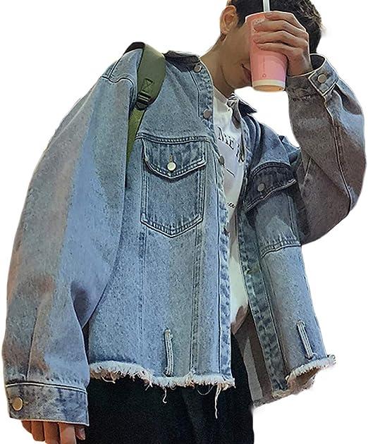 habille(ハビー)メンズ ダメージ カットオフ デニムジャケット Gジャン ベルト付き ビックシルエット ストリート カジュアル おまけ付(2カラー)