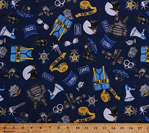 Cotton Police Officers Gear Badges Bulletproof Vests Flashlights Police Tape Helmets Duty Belts Handcuffs Guns Law Enforcement SWAT Cops Protect & Serve Blue Cotton Fabric Print by Yard (1649-26129-N) (Badge Cotton)