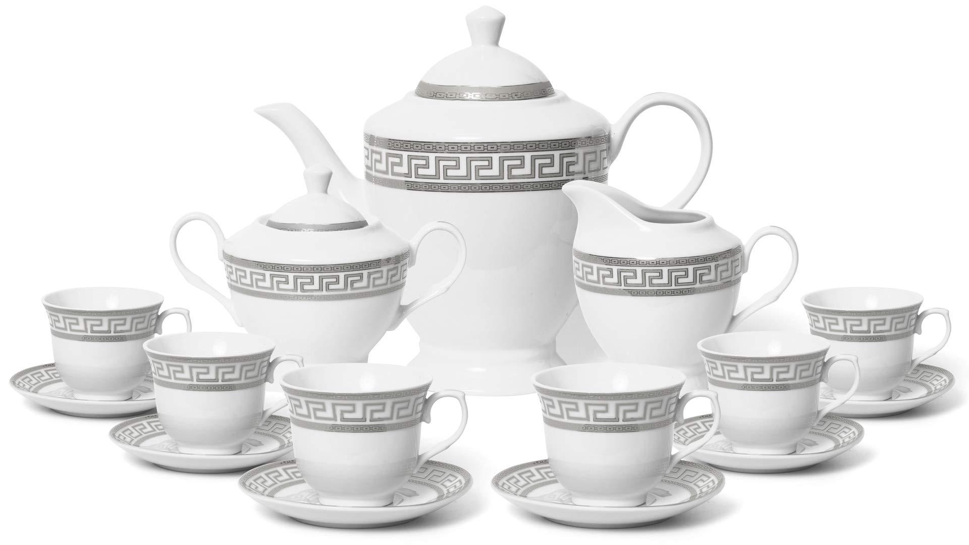 Royalty Porcelain 17-pc Tea Set for 6, Czech Porcelain (Elegant Silver)