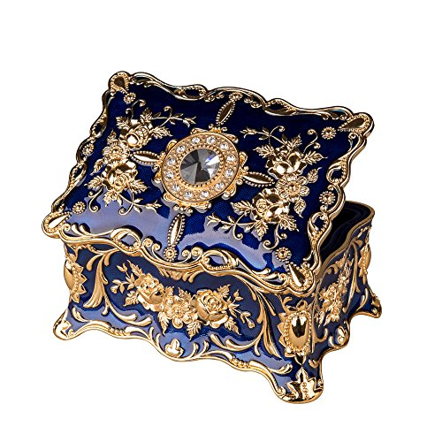 Feyarl Vintage Rectangle Trinket Box Jewelry Box Ornate Antique Finish Engraved with Two- Layer Organizer Box for Exquisite Gift (Blue) from Feyarl