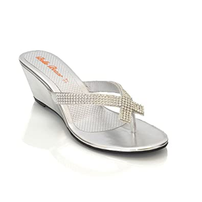 4058ed7dc6a ESSEX GLAM NEW WOMENS DIAMANTE TOE POST LADIES DRESSY PARTY SPARKLY WEDGE  SANDALS SIZE 3-8 Silver