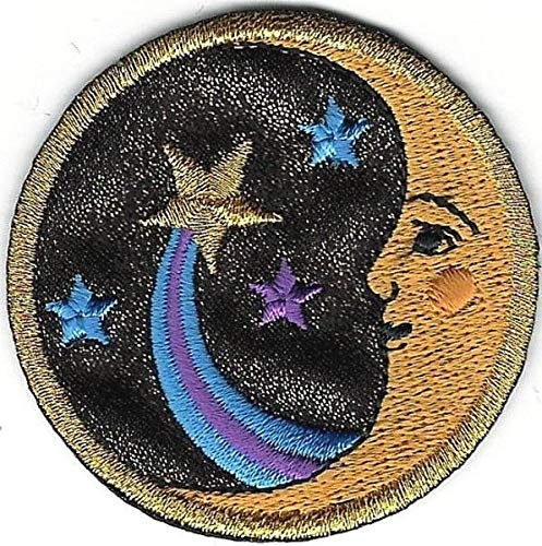 (2'', Celestial Man in The Moon Face Shooting Star Comet Custom Embroidery Patch)
