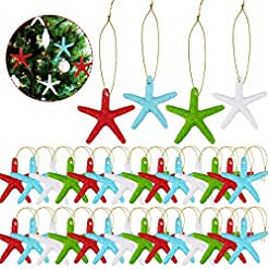 Beach Themed Christmas Ornaments 32 Pieces Multi-colored Resin Pencil Finger Starfish with Gold Rope Starfish Decorative Ornaments for Christmas Tree… beach themed christmas ornaments