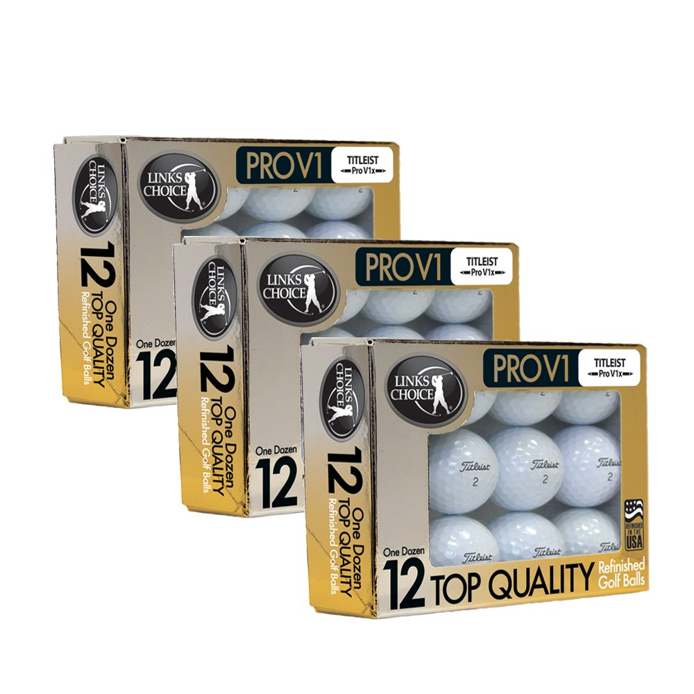 Links Choice LLC 36 Titleist ProV1x 2017 AAAAA Mint Refinished Used Golf Balls Gold Foil Pack