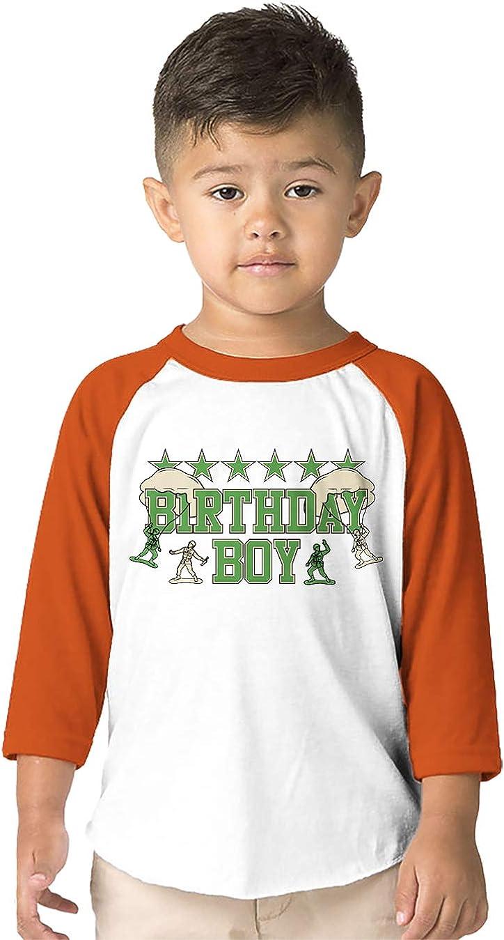 SpiritForged Apparel Birthday Boy Toy Soldiers Toddler 3//4 Raglan Shirt
