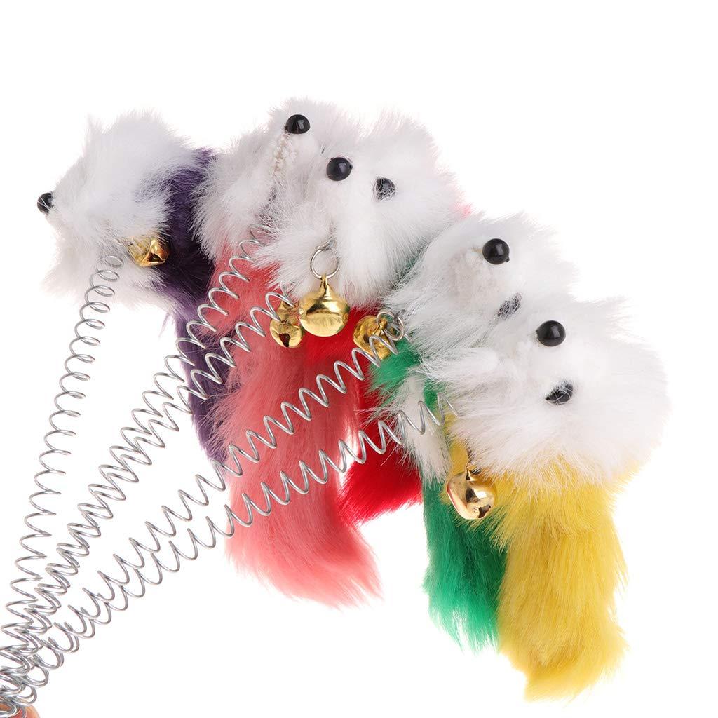 Yanhonin 1pc Juguete para Gato fausses rat/ón Plumas Stick de Taza de Primavera para Mascotas Funny Bell