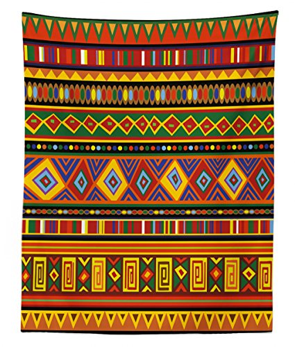 (Lunarable Tribal Tapestry Twin Size, Geometric Ethnic Aztec Style African Pattern with Colorful Shapes Folk Art Design, Wall Hanging Bedspread Bed Cover Wall Decor, 68 W X 88 L inches, Multicolor)