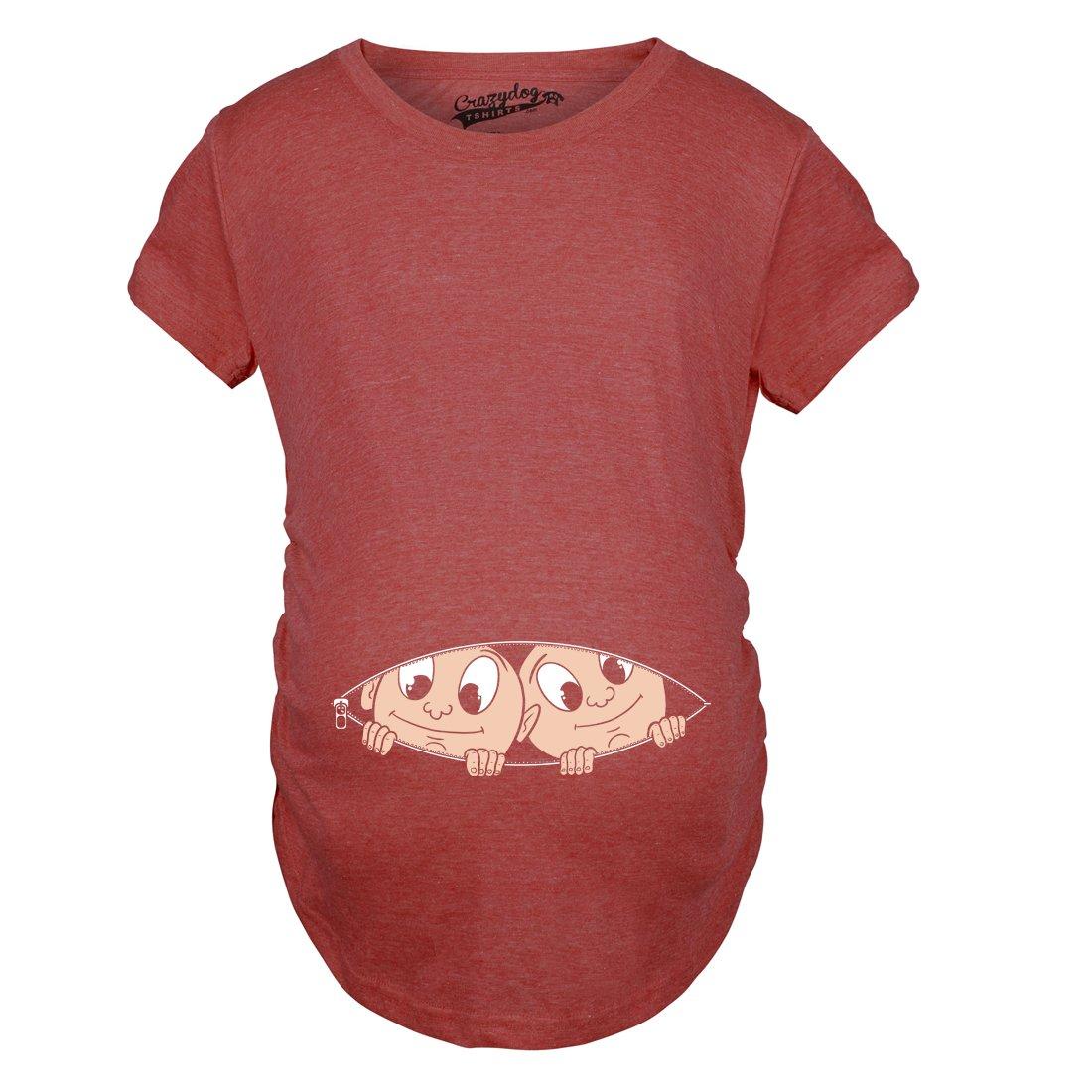 Maternity Peeking Twins T Shirt Cute Baby Announcement Pregnancy Tee Crazy Dog Tshirts 99caucasianTWINSmat