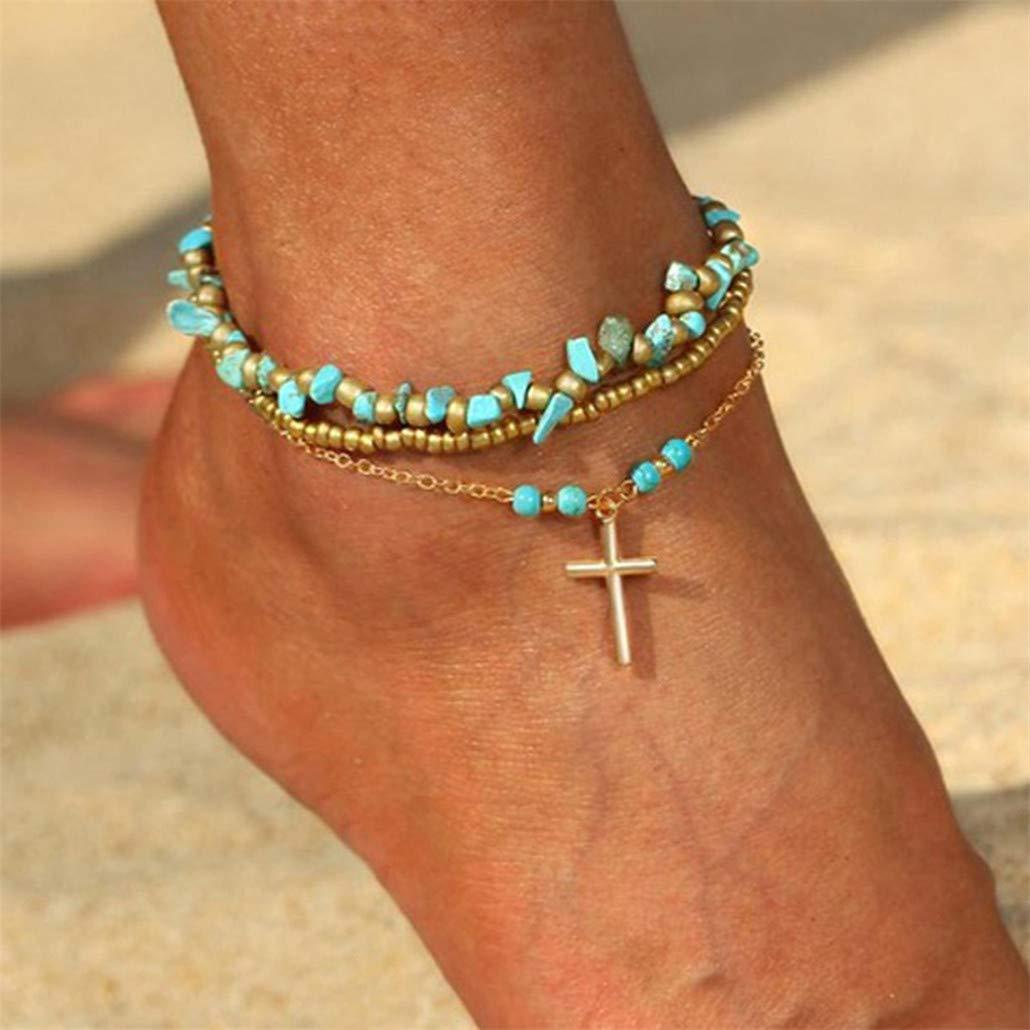 NYAOLE Einstellbare Strand Perlen Fußkettchen Armband Bohemian Style Kreuz mit Unregelmäßigen Türkis Perlen Fuß Zubehör für Frauen und Mädchen Fuß Zubehör