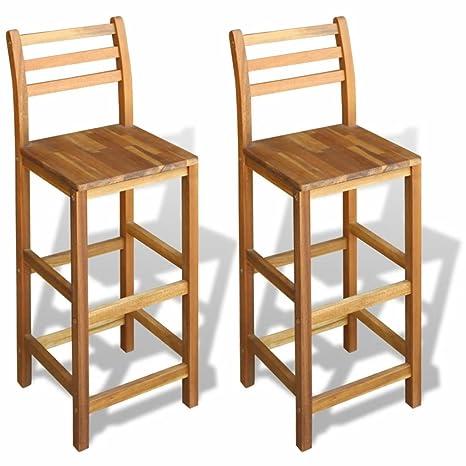 vidaxl set 2 sgabelli da bar sedia cucina elegante con schienale legno di acacia
