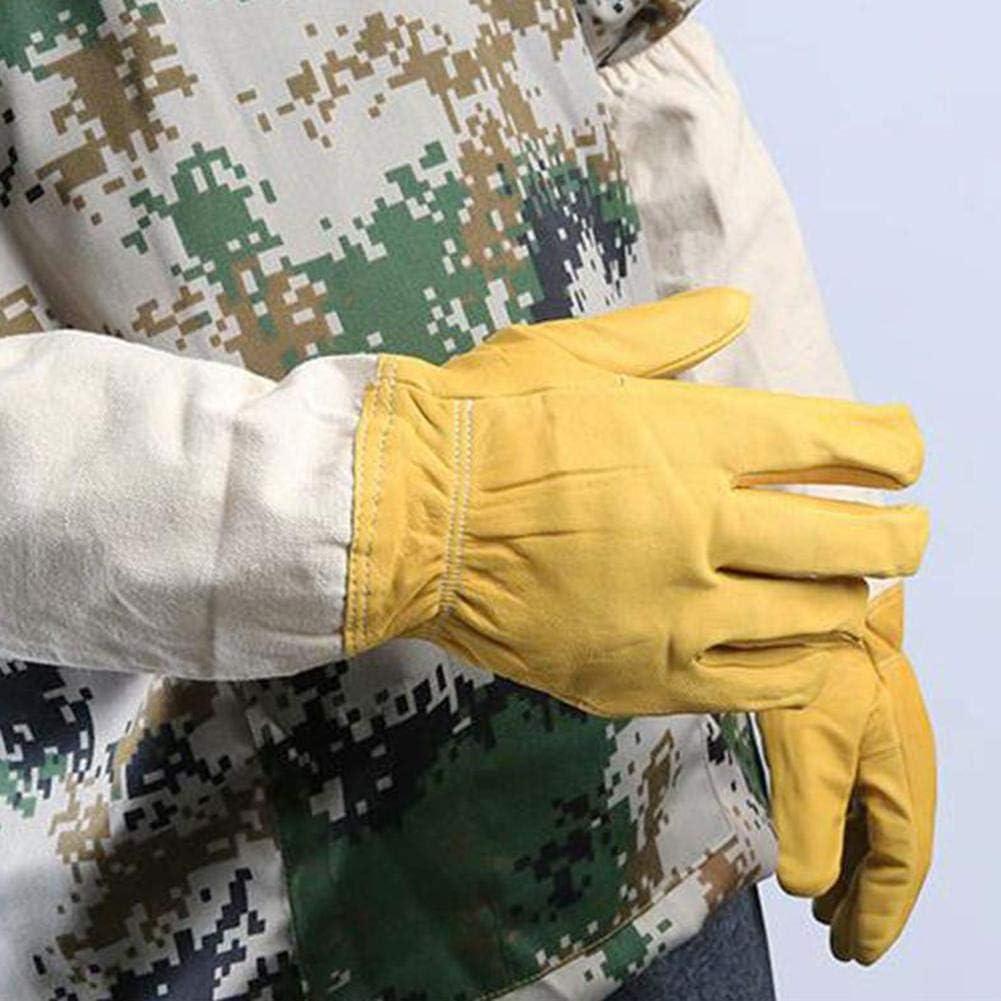 Giallo Demiawaking Guanti da Apicoltore in Pelle di Capra Guanti Protettivi da Apicoltura Guanti da Lavoro per Apicoltura