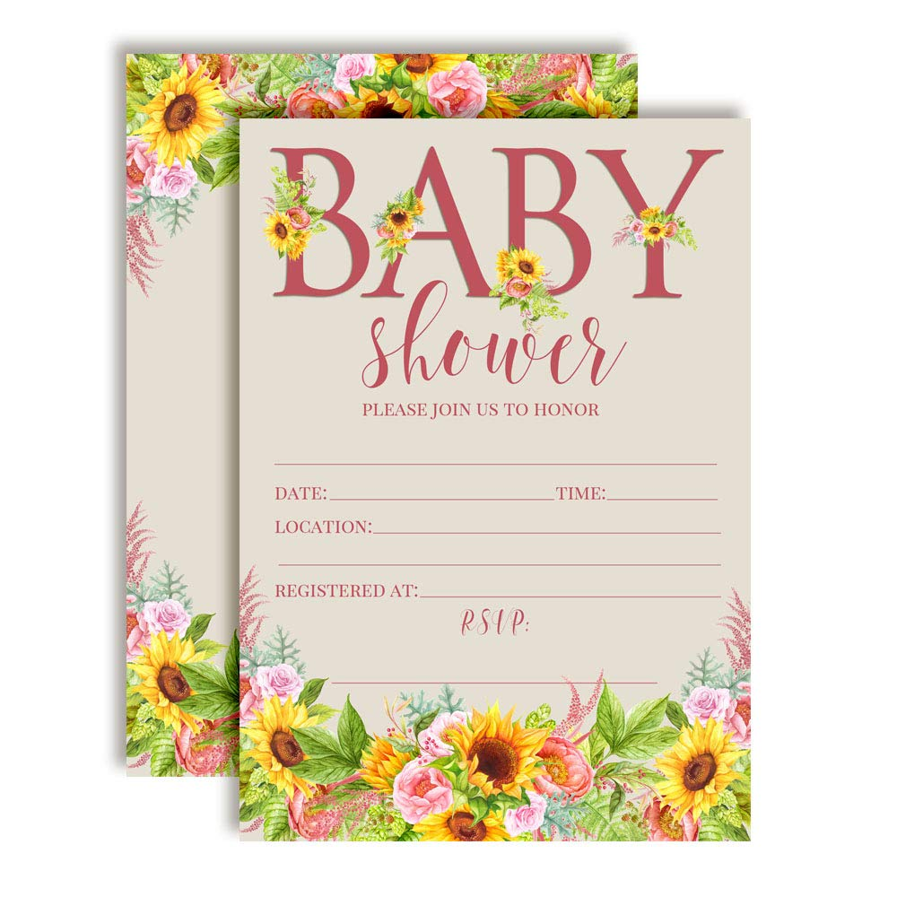 Watercolor Sunflower and Peony Floral Baby Sprinkle Baby Shower Invitations, 20 5''x7'' Fill in Cards with Twenty White Envelopes by AmandaCreation