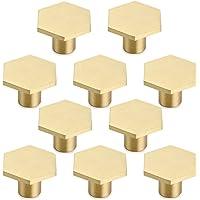 10 stuks ladeknoppen, meubelknoppen hexagon massief messing kastknoppen met schroef voor kast, bureau, lade, commode…