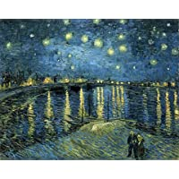 Wieco Art - Starry Night Over The Rhone by Van Gogh Famous Oil Paintings Reproduction Modern Framed Giclee Canvas Print Artwork Seascape Pictures on Canvas Wall Art for Home Office Decorations