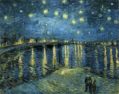 Starry Poster Print Night (Wieco Art Starry Night Over The Rhone by Van Gogh Famous Oil Paintings Reproduction Modern Framed Giclee Canvas Print Artwork Seascape Pictures on Canvas Wall Art for Home Office Decorations)