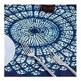 """RH Art 100% Cotton Tie Dye Floral Vintage Navy Square Tablecloth (Shibori, White Blue, 44"""" by 44"""")"""