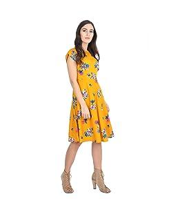 Rudraaksha Women's Cotton Floral Printed Knee Length Dress (Mustard, Medium)
