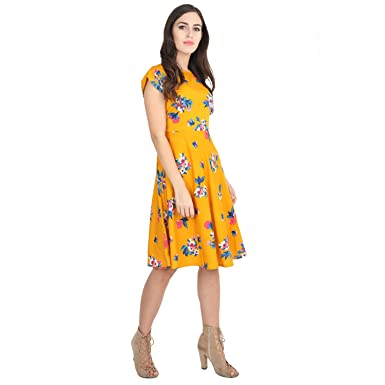 c0919b5e2 Rudraaksha Women's Cotton Floral Printed Knee Length Dress (Mustard, Medium)