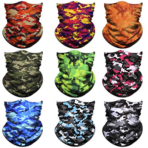 - NTBOKW Headwear Seamless Bandana Headband Face Mask for Sun Dust Wind Protection Mask for Riding Motorcycle Cycling Fishing Hunting Summer Breathable Tube Mask for Men Women (9 Pack Camo 04)