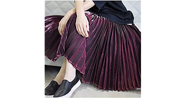 El Nuevo Larga Falda Falda Plisada Metalizada,L Vino Rojo: Amazon ...