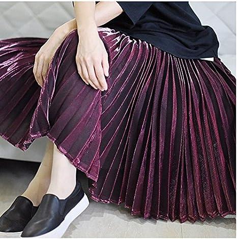 XiaoGao El Nuevo Larga Falda Falda Plisada Metalizada,M Rojo Vino ...