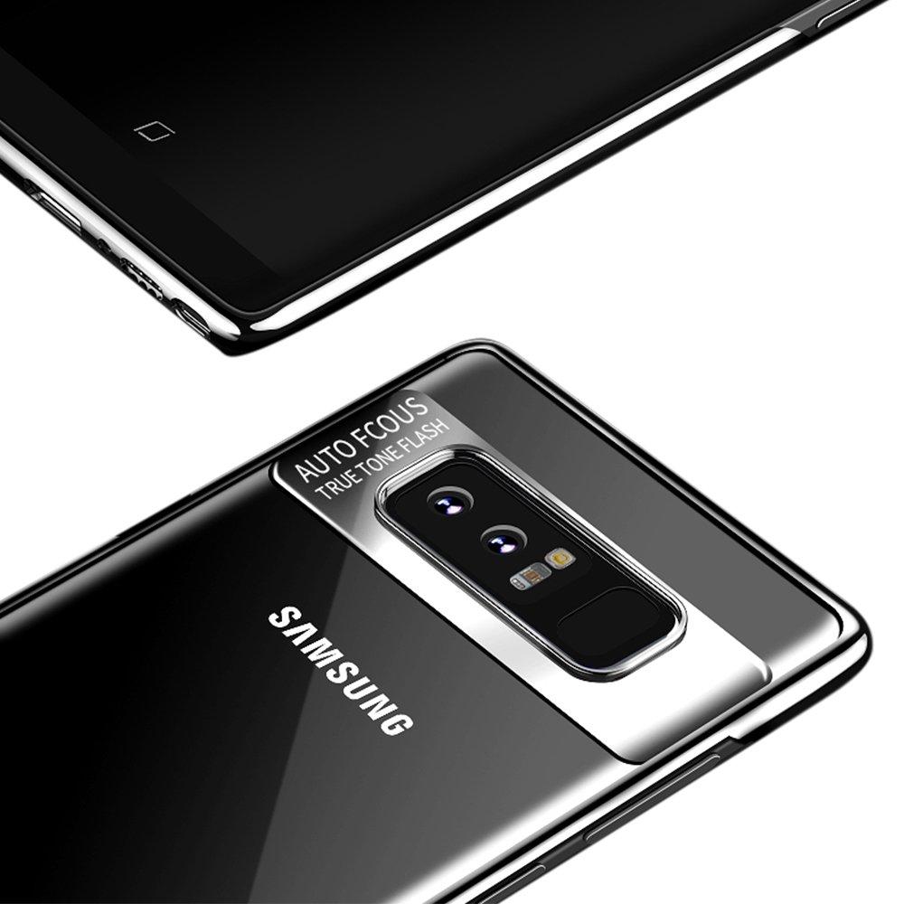 Hülle für Samsung Galaxy Note 8, Senisttech Ultra Dünn Full Protection Shockproof Schutzhülle With Electroplated Craft-Transparent TPU Silikon Handyhülle für Samsung Note 8 (Schwarz)