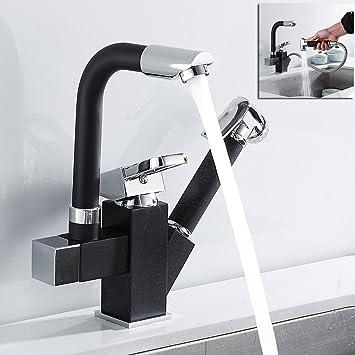 360° Swivel Single Lever Spray Spout Kitchen Faucet Chrome Sink Mixer Tap