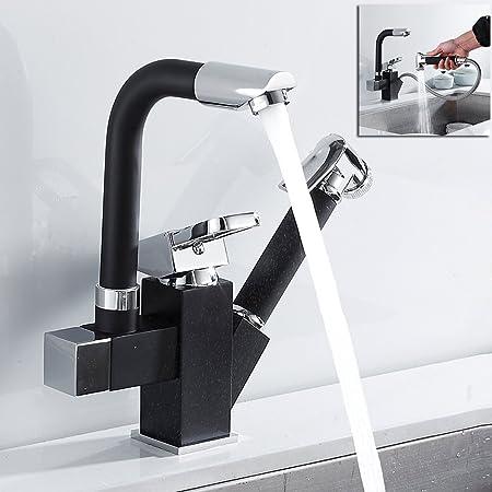 Robinet mitigeur pour /évier de cuisine avec bec pivotant /à 360 /° et bec pivotant /à leau froide 1 deck mounted