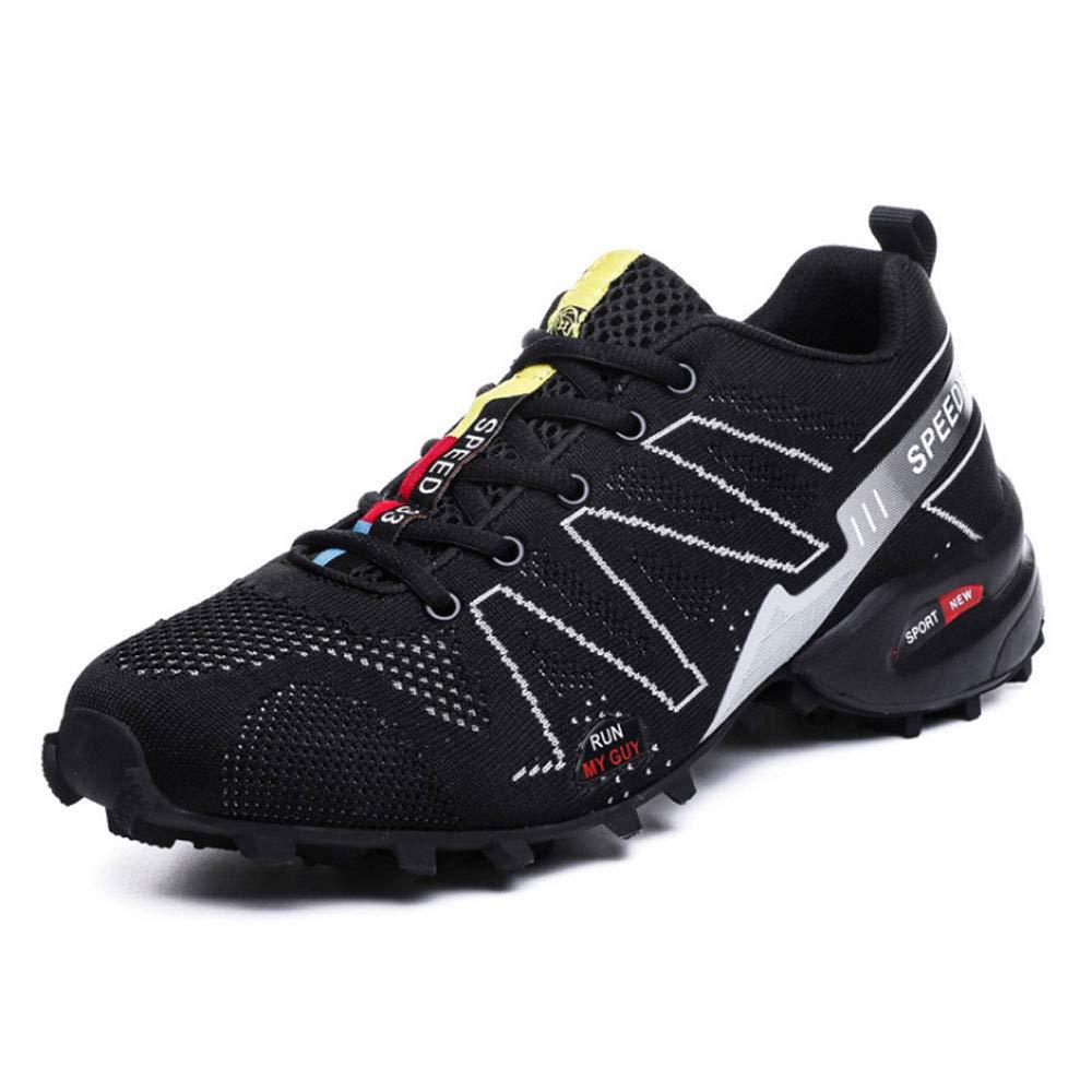 YSZDM Herren Wanderschuhe, Herren Wanderschuhe Leichte Wanderschuhe Outdoor Warm Work Sicherheitsschuhe Slip On Trainer für Klettern,schwarz,44