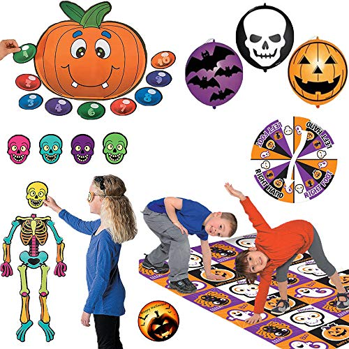 Halloween Games Party Pack Includes Pin the Nose on the Pumpkin, Bend N Twist, 16 Punch Balloons, Pin the Head on the Skeleton, and an EXCLUSIVE Halloween Party Pin by Another Dream!