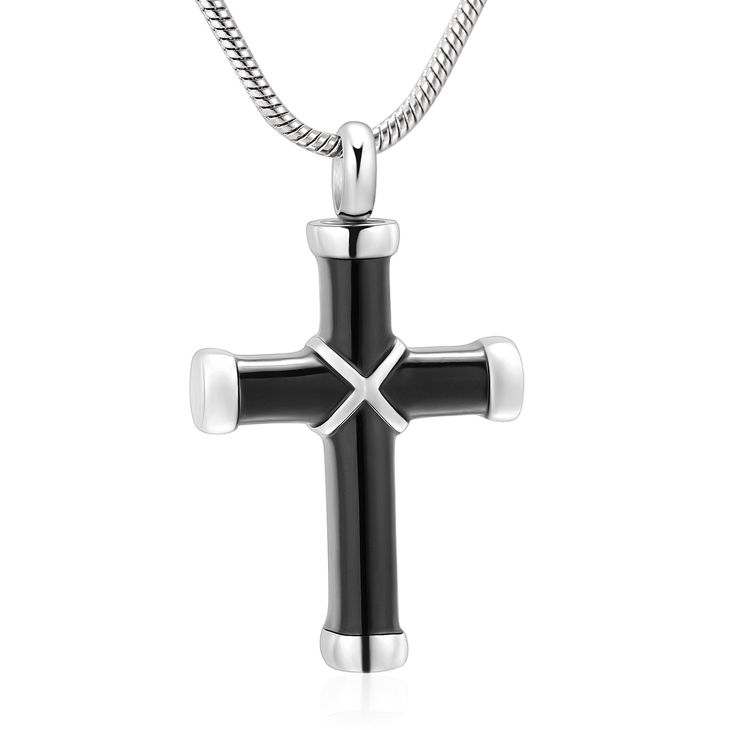 316l Stainless Steel Cremation Necklace Classic Cross Urn Pendant Memorial Jewelry for Ashes (black)