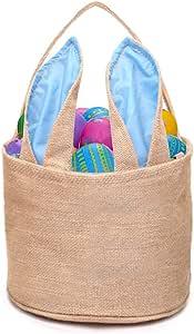 DomeStar Easter Basket, Bunny Basket Tote Bag Handbag Burlap Bag for Camping Picnicking Lake Trips Family Vacations