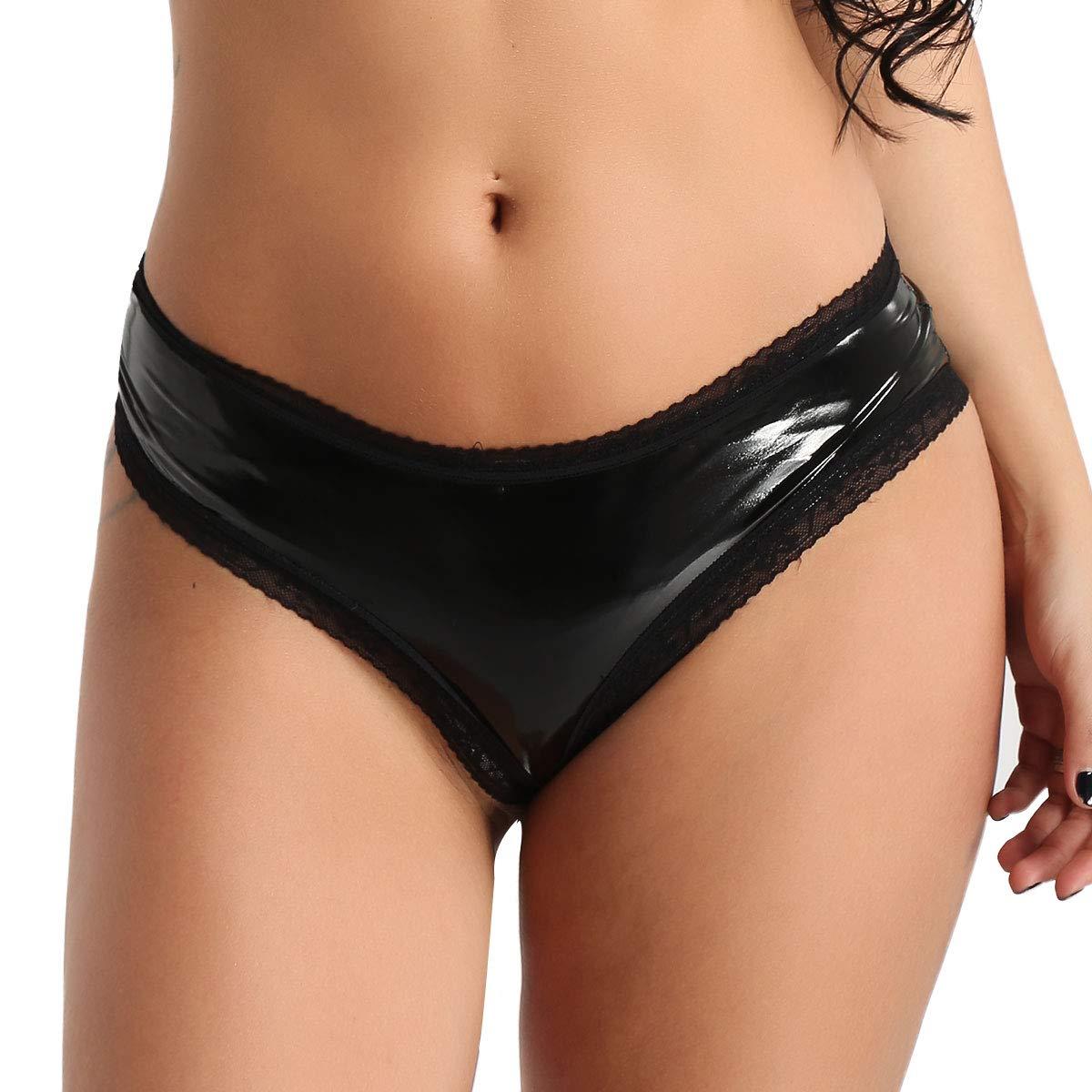 Tiaobug Damen Wetlook Panties Hipster mit verführerischen Spitzendetails Lack Lederoptik Unterhose Slips Mini Hot Pants sexy Höschen Schlüpfer