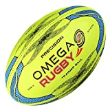 Omega Rugby Precision Training Rugby Ball (Fluoro / Blue, 4 (Ages 10 - 14))