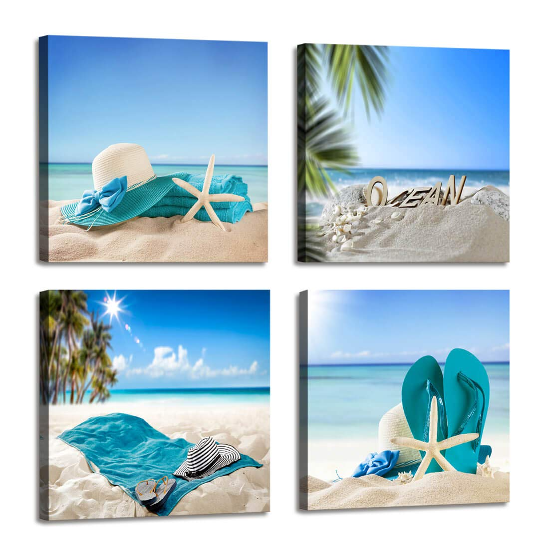 Beach Theme Decor Bedroom Wall Decor Summer Beach Palms Sandy Beach with Shells Ocean Decor - 4 Panels Framed Artwork Blue Sea Canvas Prints for Living Room Bathroom Home Decor 12x12 inches 4pcs/Set
