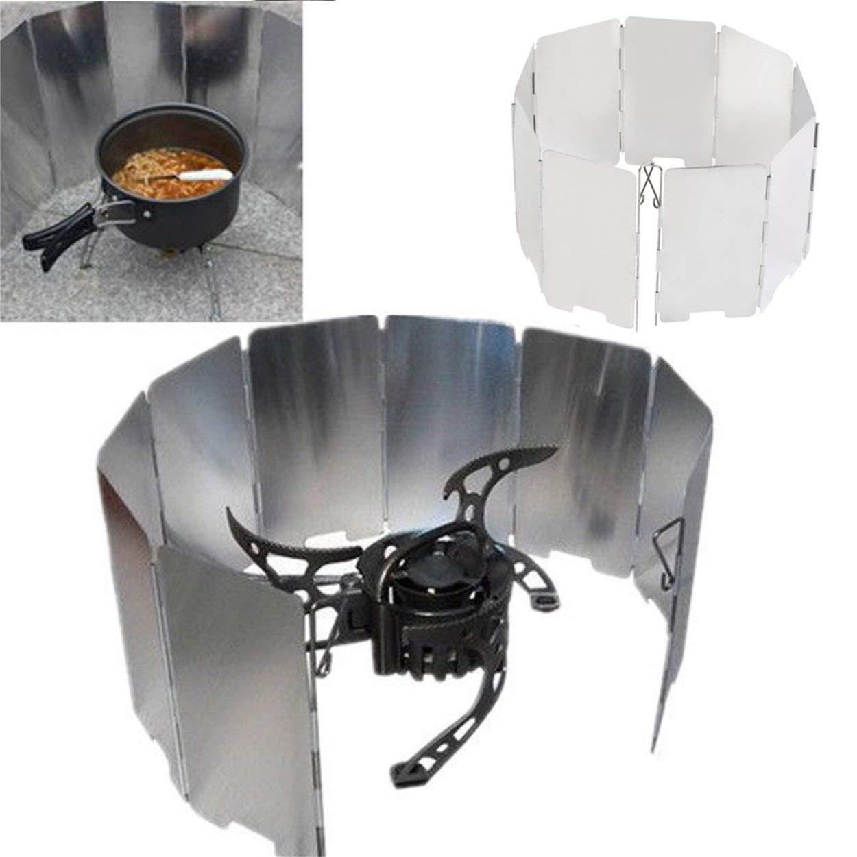 Lorenlli Profesión Plegable Mini 9 Placas Cocina BBQ Estufa de gas Pantalla de protección contra el viento Picnic al aire libre Camping Pantalla de viento: ...