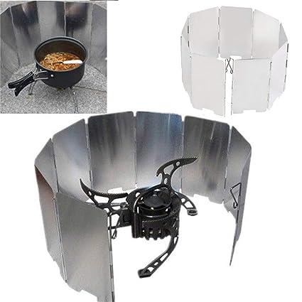 Lorenlli Profesión Plegable Mini 9 Placas Cocina BBQ Estufa de gas Pantalla de protección contra el