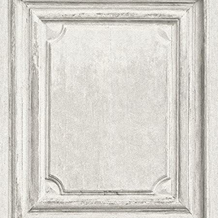 Rasch Wooden Door Pattern Wallpaper Faux Wood Effect Panel Textured White