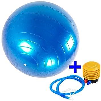 Balon pelota de pilates fitball fitness ejercicio gimnasia azul+inflador 65  cm 71f1f938aead